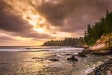 Golden Sunset Over The Ocean At Kingston, Norfolk Island