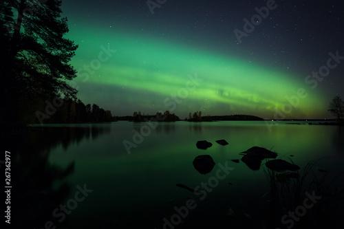 Fényképezés Beautiful northern lights over lake