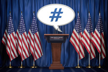Message , Tweet Or Speech Bubble Of The President Of USA In White House. Space For Text.