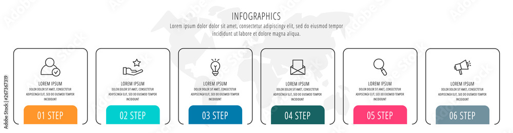 Fototapety, obrazy: Modern vector flat illustration. Infographic arrows template with six elements, shapes, icons. Timeline designed for business, presentations, web design, interface, education, diagrams with 6 steps