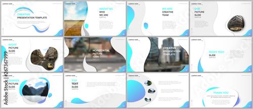 Minimal presentations design, portfolio vector templates with fluid colorful trendy gradients geometric shapes Fototapeta