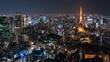 time lapse of Tokyo city at night, Japan