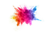 Fototapeta Tęcza - Multicolor powder explosion on White background. Colored cloud. Colorful dust explode. Paint Holi.