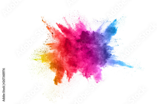 Acrylic Prints Form Multicolor powder explosion on White background. Colored cloud. Colorful dust explode. Paint Holi.