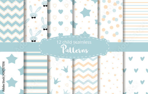 fototapeta na ścianę Blue background baby boy design Baby shower vector set rabbit stars zigzag patterns