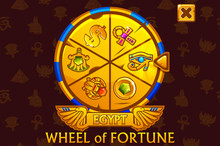 Wheel Of Fortune In Egyptian Style For UI Game And Casino. Vector Golden Colors Icons On Separate Layers.