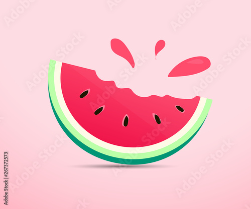 Fototapeta Vector of Watermelon with smooth color tone of red, green and pink