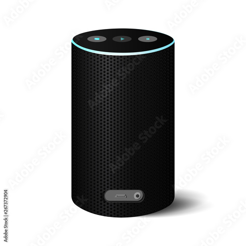 Black Bluetooth speaker with power blue lead on white background Canvas Print