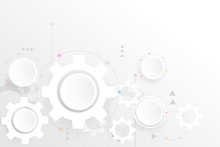 Grey White Abstract Technology Background With Various Technology Elements. Creative Clean Background Design In EPS10 Vector Illustration.