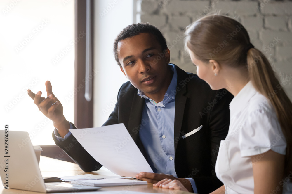 Fototapety, obrazy: Boss interviewing female candidate, client and manager negotiating