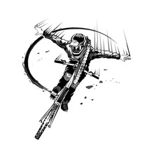 Mountain Biking And Cicling. Vector Artwork In The Style Of Ink Drawing.