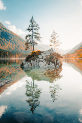 Fototapeta Minimalistyczny Lake Hintersee at sunset, Bavaria, Germany