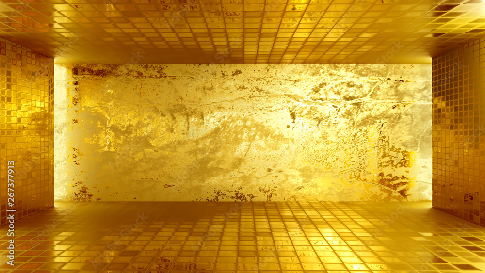 Dark tiles blank room and golden wall interior glossy and lighting backdrop 3d rendering