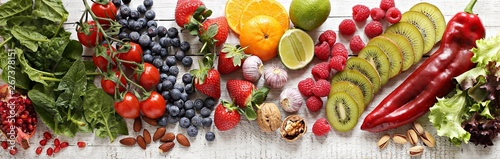 Poster de jardin Magasin alimentation Healthy food. Selection of fruits, berries,vegetables, cereals and nuts for healthy eating concept.
