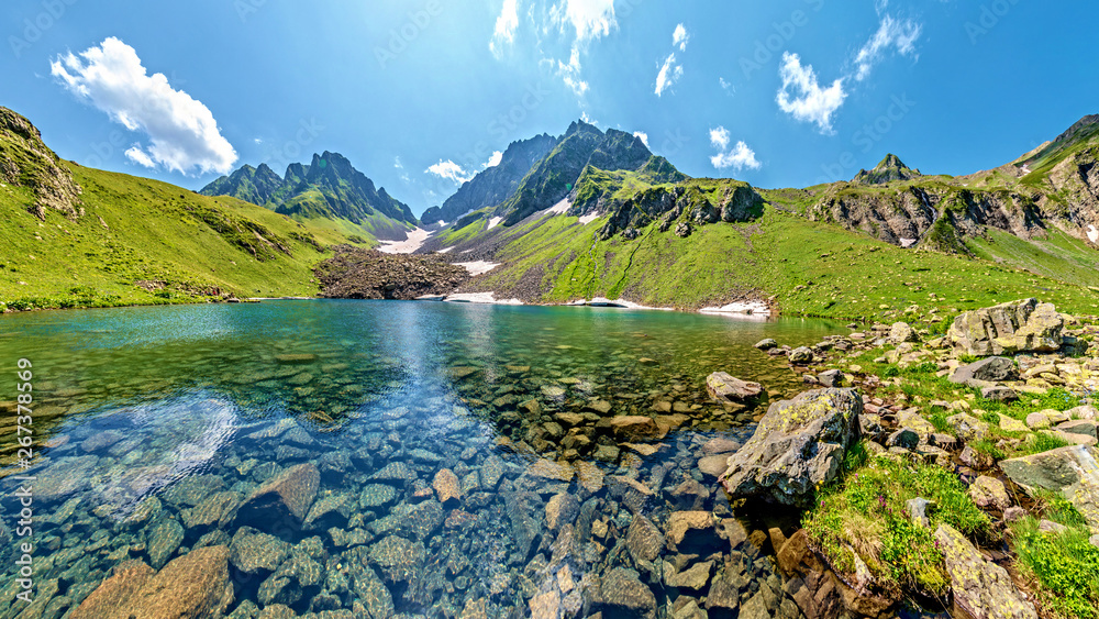 Fototapety, obrazy: Turquoise water in lake Kalalish with peaks in background, Svaneti mountains, Georgia, Asia