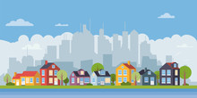Suburban Village Flat Design Cityscape Banner Vector Illustration