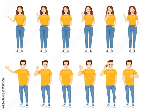 Young people man and woman in casual outfit set with different gestures isolated vector illustration