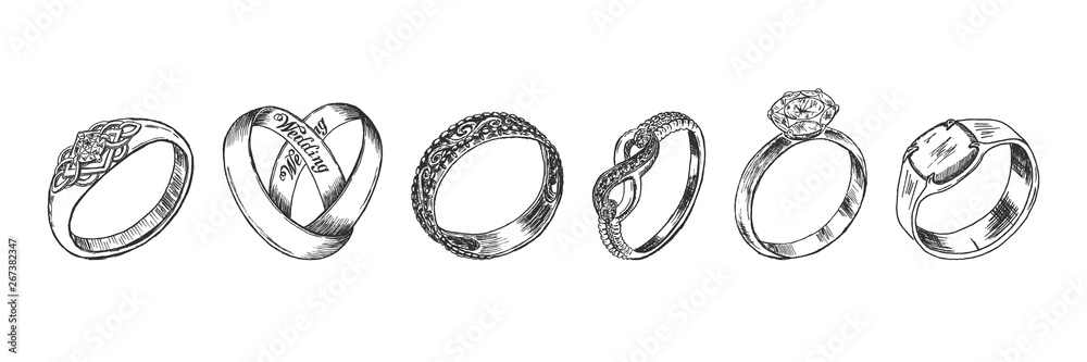 Fototapety, obrazy: Different isolated jewelry rings set