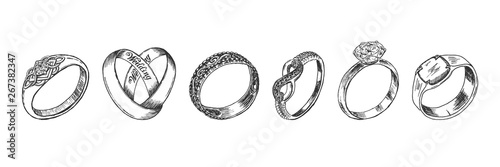 Fototapeta Different isolated jewelry rings set