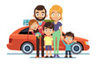 Family car. Happy young parents father mother kids pet auto lifestyle people automobile travel vacation road trip flat vector design