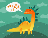 Fototapeta Dinusie - Dinosaur poster. Cute dino funny monsters kids print t-shirt dragon texture happy animal fashion label wallpaper flat vector isolated