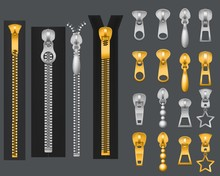 Metallic Zippers. Realistic Gold Silver Zipper, Closed Open Zip Pullers. Garment Components Zippered Fabric Accessories, Vector Set