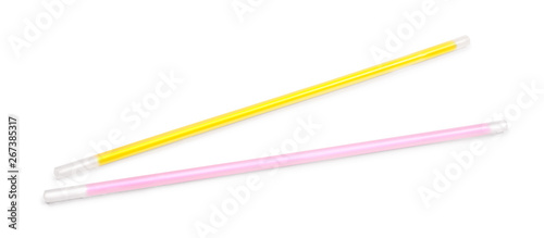 Fotografía neon sticks for bracelet on an isolated white background