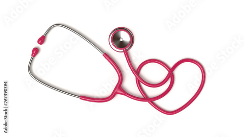 Carta da parati  Red Stethoscope in Shape of Heart Isolated On White Background