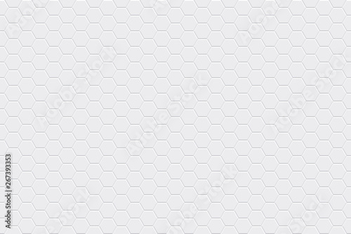 White horizontal seamless tiles texture. Hexagonal modern pattern. Vector illustration