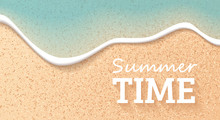 Beach Top View. Summer Background. Paper Cut Style. Travel Banner, Poster. Sea Or Ocean Waves. Simple Modern Template. Flat Style Vector Illustration.