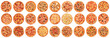 canvas print picture - Big set of pizzas isolated on white background. Top view
