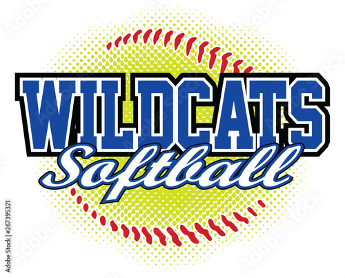 Wildcats Softball Design is a wildcats mascot design template that includes team text and a stylized softball graphic in the background Tapéta, Fotótapéta