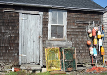 Old Lobster Shed With Buoys An...