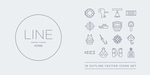 16 Line Vector Icons Set Such As Afterdeck, Air Tank, Anchor, Antique Telescope, Aqualung Contains Azimuth Compass, Bait, Ballast, Barometer. Afterdeck, Air Tank, Anchor From Nautical Outline Icons.