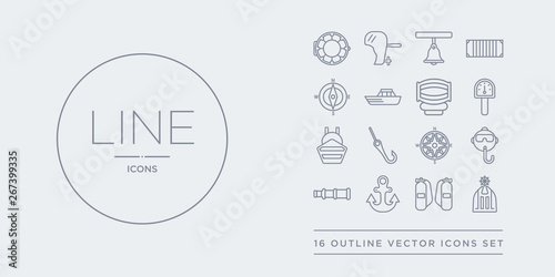 Photo 16 line vector icons set such as afterdeck, air tank, anchor, antique telescope, aqualung contains azimuth compass, bait, ballast, barometer
