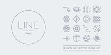 16 Line Vector Icons Set Such As Hexagon, Hexahedron, Icosahedron, Intersection, Lightning Bolt Polygonal Contains Line Segment, Metatron Cube, Multiple Triangles Inside Hexagon, Multiple Triangles