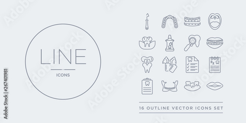 16 line vector icons set such as lips, malocclusion, maxilla, medical appointment, medical prescription contains medical record, mint gum, molar crown, mouth Canvas-taulu