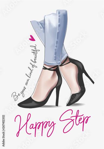 Fototapeta woman in high heels illustration with slogan