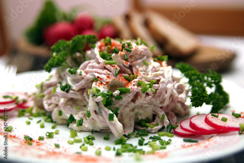 Fotografie, Obraz  Wurstsalat mit Mayonnaise