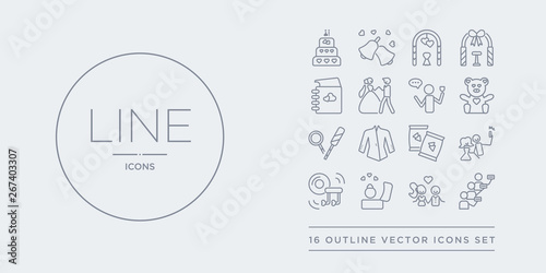 16 line vector icons set such as queue, relationship, ring, romantic music, selfie contains snack, suit, sweet, teddy bear. queue, relationship, ring from birthday and party outline icons. thin,