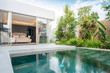 canvas print picture - home or house building Exterior and interior design showing tropical pool villa with green garden and bedroom