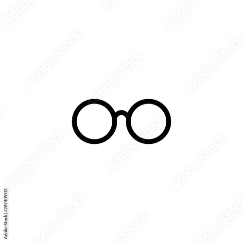 Black round flat Hipster Glasses icon Tablou Canvas