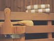 Leinwandbild Motiv Sauna with bucket, spoon and towels