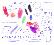 Vector Set Of Colorful Pen And Pencil Doodling Drawings Isolated, Hand Drawn Illustration.