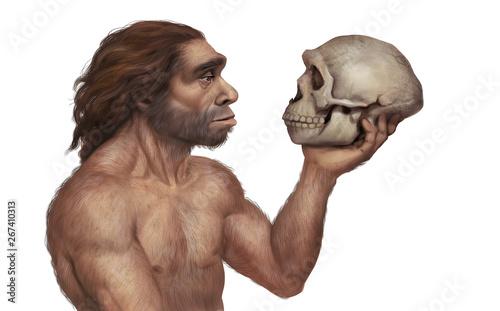 Photo Illustration of Neanderthal Man Holding Neanderthal's Skull