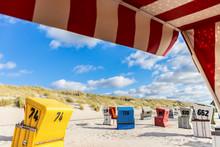 Sunbeds On Langeoog Beach In G...