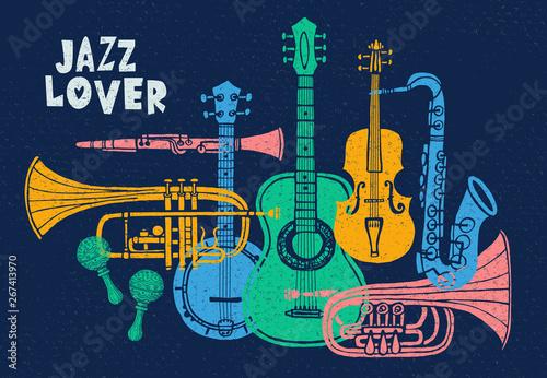 Fotomural Musical instruments, guitar, fiddle, violin, clarinet, banjo, trombone, trumpet, saxophone, sax, jazz lover slogan graphic for t shirt design posters prints
