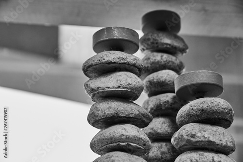 Stone Stack with Candle Black and White