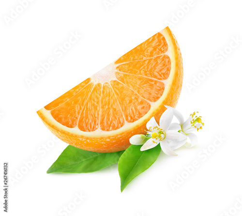 Isolated orange slice and blossoms. One piece of orange fruit with leaves and flowers isolated on white background with clipping path