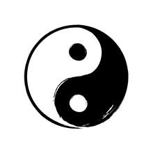 Vector Hand Drawn Watercolor Brush Yin Yang Symbol Of Harmony. Balance Black And White Circle Sign On White Background. Ying Yang Buddism Religion Illustration